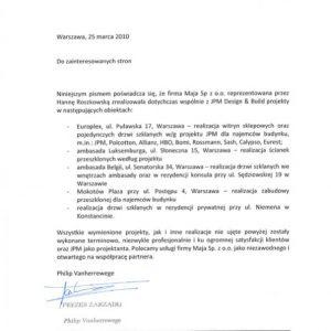 Referencje Maja Sp. z o.o.