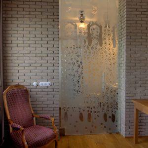 drzwi wewnętrzne, szkło zdobione